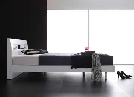 棚・コンセント付きデザインすのこ仕様セミダブルベッド【Alamode】アラモード 高いデザイン性