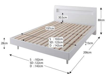 棚・コンセント付きデザインすのこ仕様セミダブルベッド【Alamode】アラモード ベッドサイズ