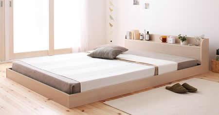 棚・コンセント付きフロア仕様シングルベッド【Claire】クレールオークホワイト