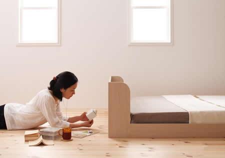 棚・コンセント付きフロア仕様シングルベッド【Claire】クレールフロアベッドイメージ