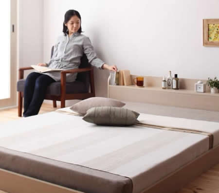 棚・コンセント付きフロア仕様シングルベッド【Claire】クレールお部屋もすっきり