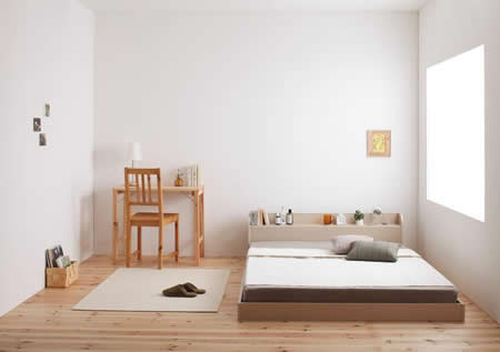 棚・コンセント付きフロア仕様シングルベッド【Claire】クレール圧迫感を感じにくいフロアタイプ