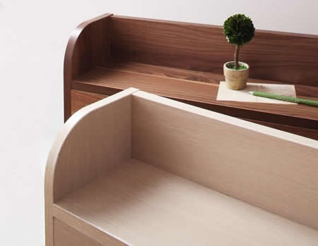棚・コンセント付きフロア仕様シングルベッド【Claire】クレール美しい表面素材
