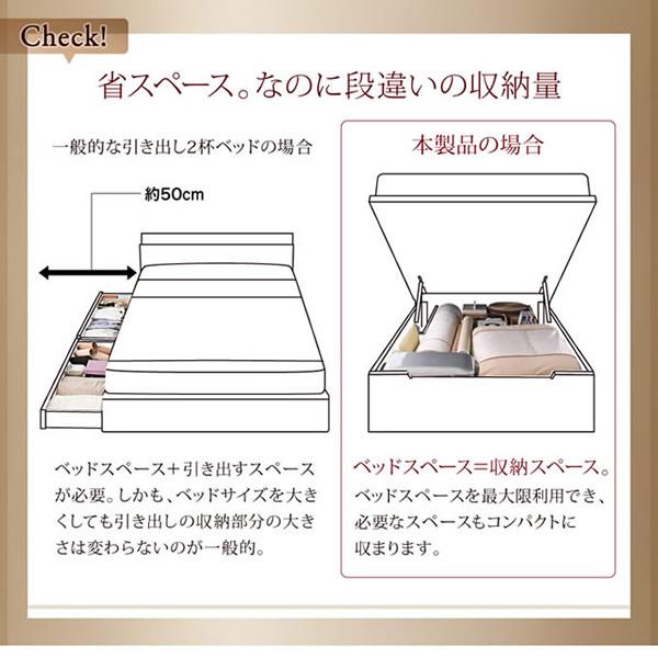 シンプル棚付き・ガス圧式跳ね上げシングルベッド【clory】クローリーの激安通販