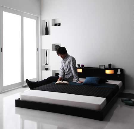 照明・コンセント付きフロアタイプダブルベッド【Dewx】デュークス フロアベッドでお部屋も広々