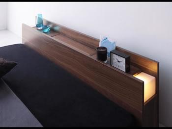 隠し収納付き 人気のシンプルデザインフロアタイプダブルベッド【Fragor】フラゴル