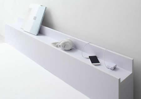 棚・コンセント付きホワイトフロアタイプシングルベッド【IDEAL】アイディール