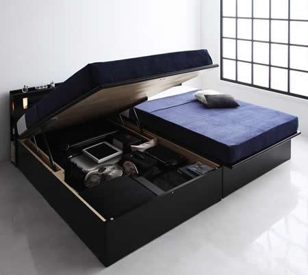 人気のデザイン・機能を取り入れたガス圧式跳ね上げタイプセミシングルベッド【Kezia】ケザイア