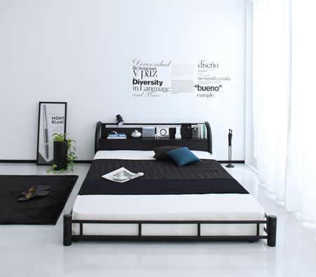 男性に人気!ブラックスチールデザインシングルベッド