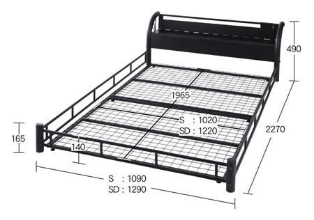 男性に人気!ブラックスチールデザインシングルベッド ベッドサイズ