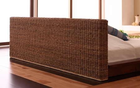 リゾートデザインフロアタイプ ダブルベッド【Lotus】ロータス 背面もアジアン雰囲気バッチリ