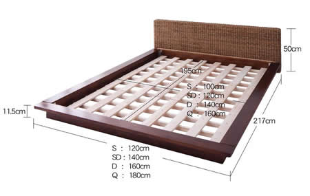 リゾートデザインフロアタイプシングルベッド【Lotus】ロータス ベッドサイズ