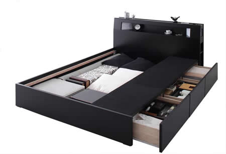 おすすめNo1!収納付きシングルベッド【Modellus】モデラス 大物収納も可能