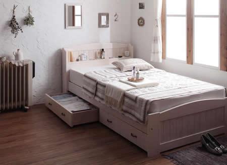 女性向け!ショート丈カントリー調収納付きセミシングルベッド【Reine】レーヌ かわいいベッド