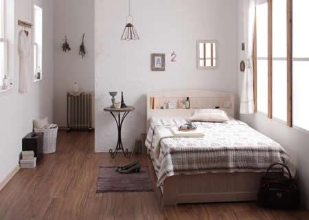 女性向け!ショート丈カントリー調収納付きセミシングルベッド【Reine】レーヌ 一人暮らし向けです。