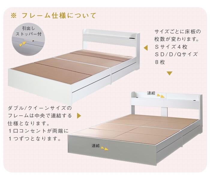 モノトーンデザイン収納付きセミダブルベッド【Khronos】クロノスの激安通販