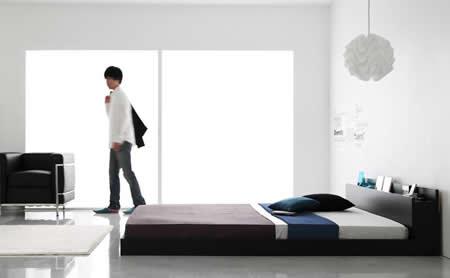 フロアタイプシンプルデザインダブルベッド【Skyline】スカイライン お部屋に広がりを与えるフロアタイプ