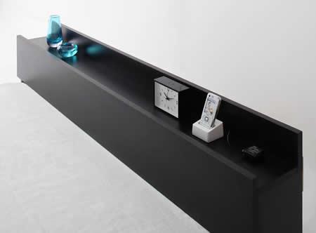 フロアタイプシンプルデザインダブルベッド【Skyline】スカイライン 使いやすい棚