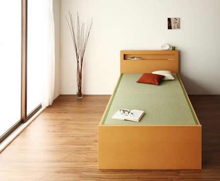 モダン&スリム棚付き畳チェストベッド セミダブルベッド