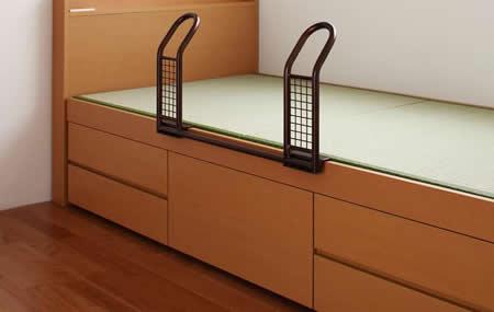 モダン&スリム棚付き畳チェストベッド シングルベッド