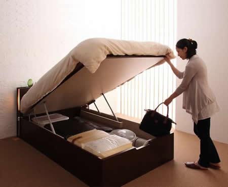 ガス圧式跳ね上げシングルベッド【夕月】ユフヅキ