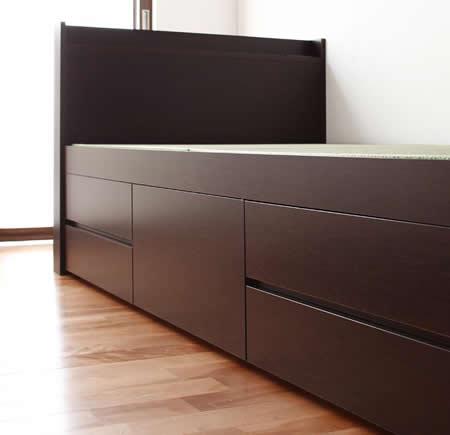 シンプル&スリム棚付き畳チェストベッド セミダブルベッド