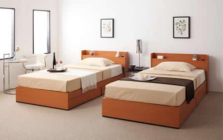 コンセント付き収納タイプシングルベッド【Ever】エヴァーシンプルな作りなので部屋がすっきりまとまります。