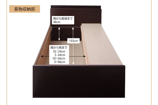 ヘッドボード収納付きチェストタイプダブルベッド【Blenda】ブレンダ の激安通販