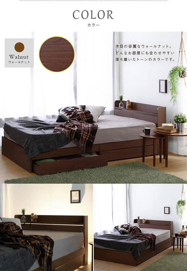 安いのに機能的!シンプルデザイン収納ベッド セミダブル 【Etude】エチュードの激安通販