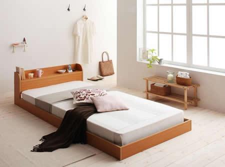 棚・コンセント付きフロアタイプシングルベッド【Cliet】クリエット ナチュラル