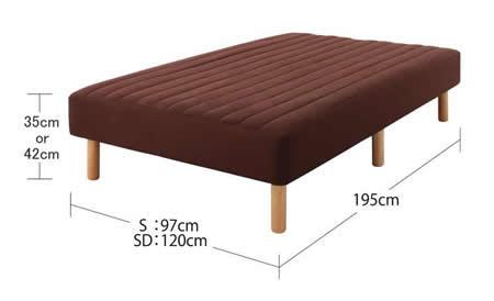 色・寝心地・脚が選べる!20色カバーリングボンネルコイルマットレスベッド セミダブル サイズ