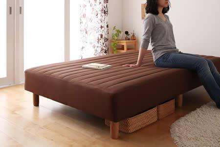 色・寝心地・脚が選べる!20色カバーリングボンネルコイルマットレスベッド セミダブル 15cm木脚