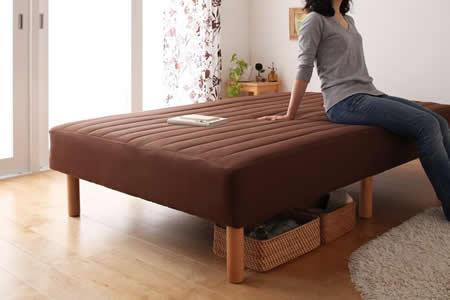 色・寝心地・脚が選べる!20色カバーリングボンネルコイルマットレスベッド セミダブル 22cm木脚