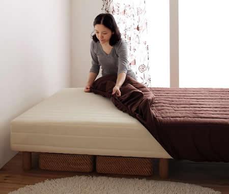 色・寝心地・脚が選べる!20色カバーリングボンネルコイルマットレスベッド セミダブル 簡単カバーリング