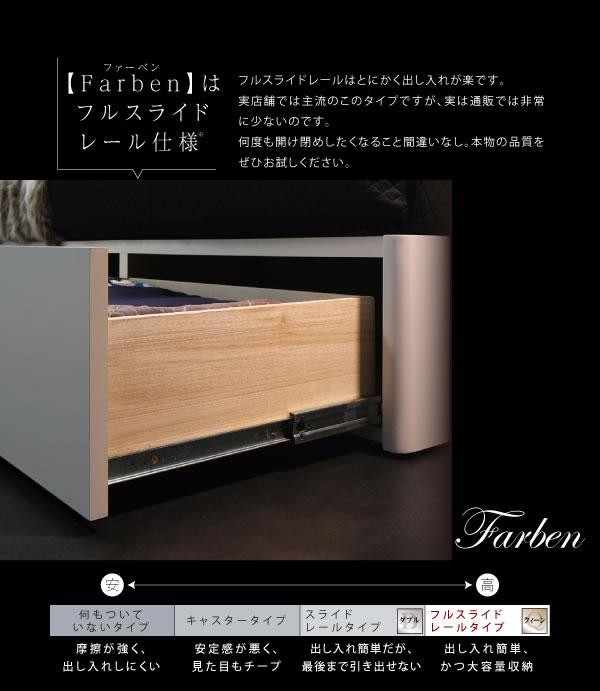 クイーンベッド【Farben】ファーベン引き出し収納付きの激安通販