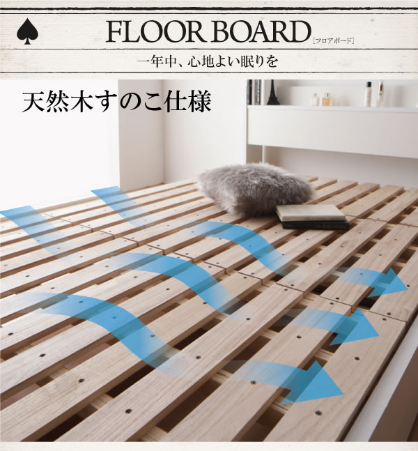 すのこ仕様収納シングルベッド【Fort spade】フォートスペイドの激安通販