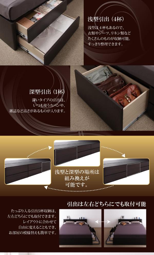 モダンデザイン・大型サイズチェストベッド【Grandluna】グランルーナ クイーンベッド限定の激安通販