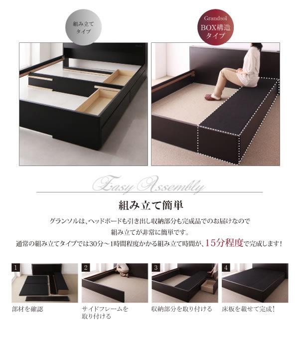 モダンデザイン・大型サイズ収納ベッド【Grandsol】グランソル クイーンベッド限定の激安通販