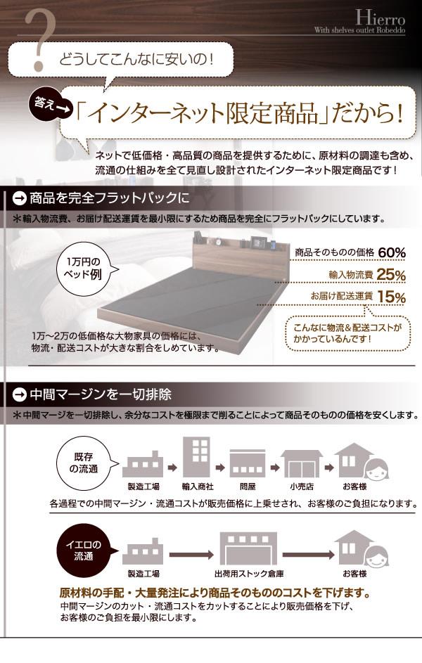布団も使えるコンセント付きロータイプダブルベッド【Hierro】イエロの激安通販