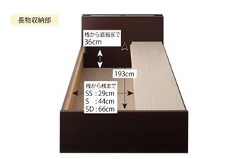 日本製:モダンライト・コンセント付きチェストタイプセミシングルベッド【Huette】ヒュッテ