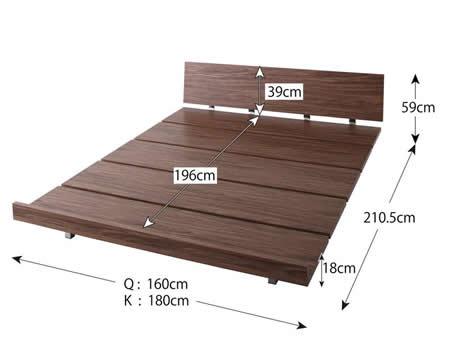 ロースタイル幅広すのこ仕様キングベッド ロータイプ時ベッドサイズ