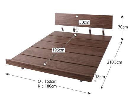 ロースタイル幅広すのこ仕様キングベッド ハイタイプ時ベッドサイズ