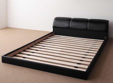 ボリューム満点!激安レザータイプシングルベッド