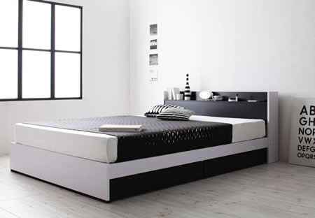 モノトーンデザイン・棚・コンセント・収納付きセミダブルベッド【MONO'-BED】モノ・ベッド