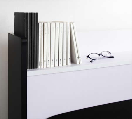 モノトーンデザイン・棚・コンセント・収納付きダブルベッド【MONO'-BED】モノ・ベッド