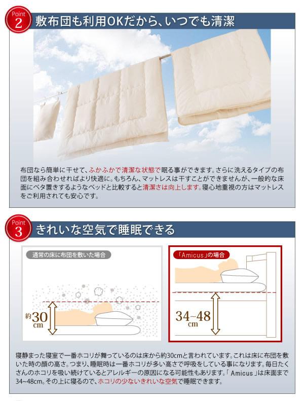 すのこ型床板・ヘッドレス仕様ガス圧式収納セミダブルベッド【Amicus】アミークスの激安通販