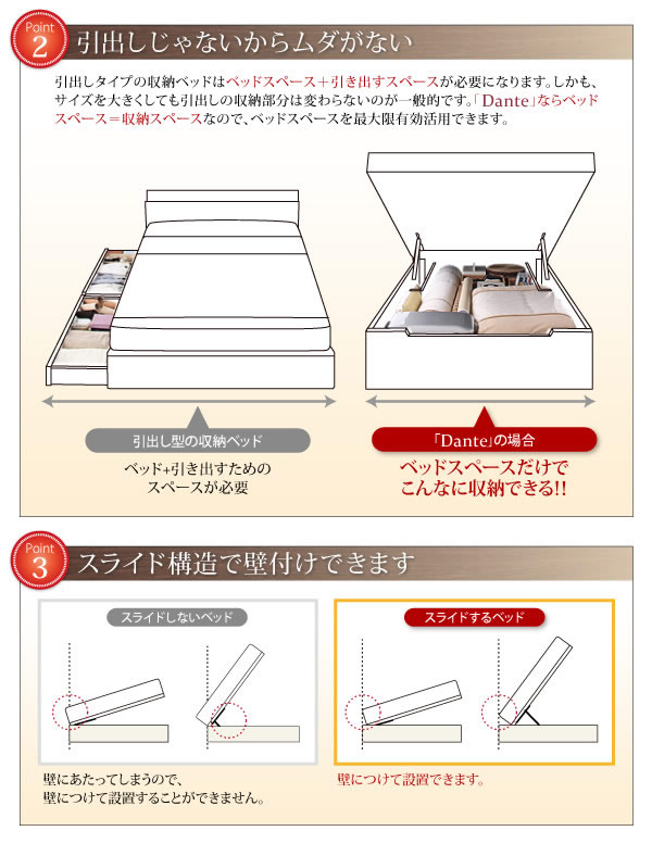 すのこ型床板・スリム棚付きガス圧式収納シングルベッド【Dante】ダンテの激安通販