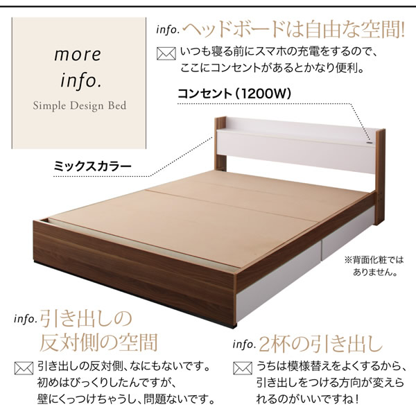 個性が際立つ!棚・コンセント付き収納ベッド【Tatiana】タチアナ 激安通販