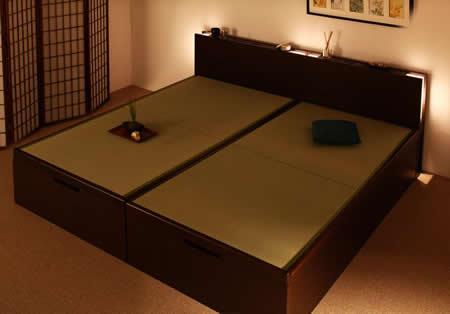 照明・棚付きガス圧式跳ね上げ収納畳ベッド【月花】ツキハナ シングル
