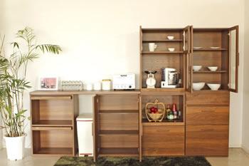 アルダー材仕様キッチン収納家具シリーズ4